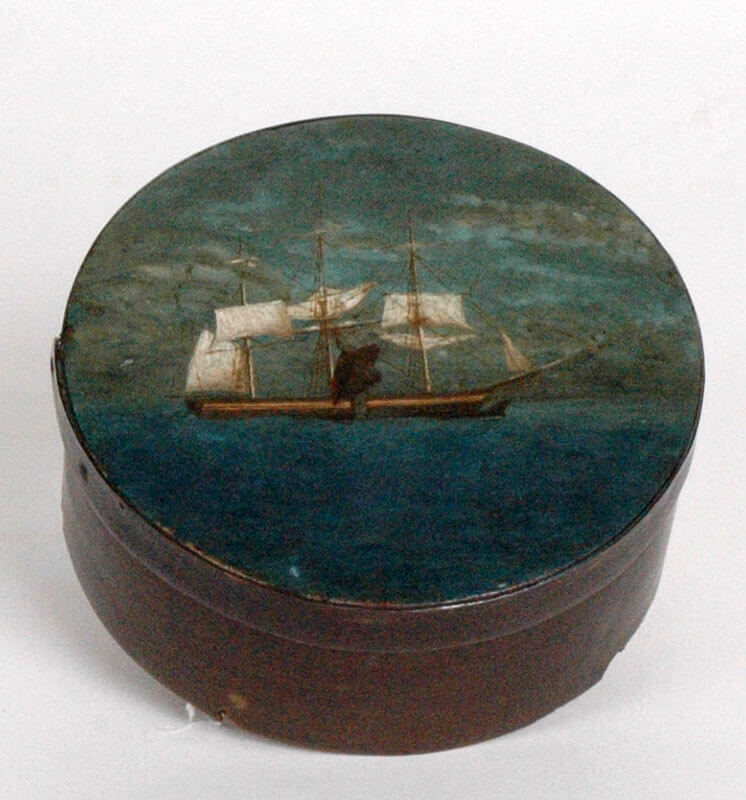Baleen ditty box with painted whaling scene