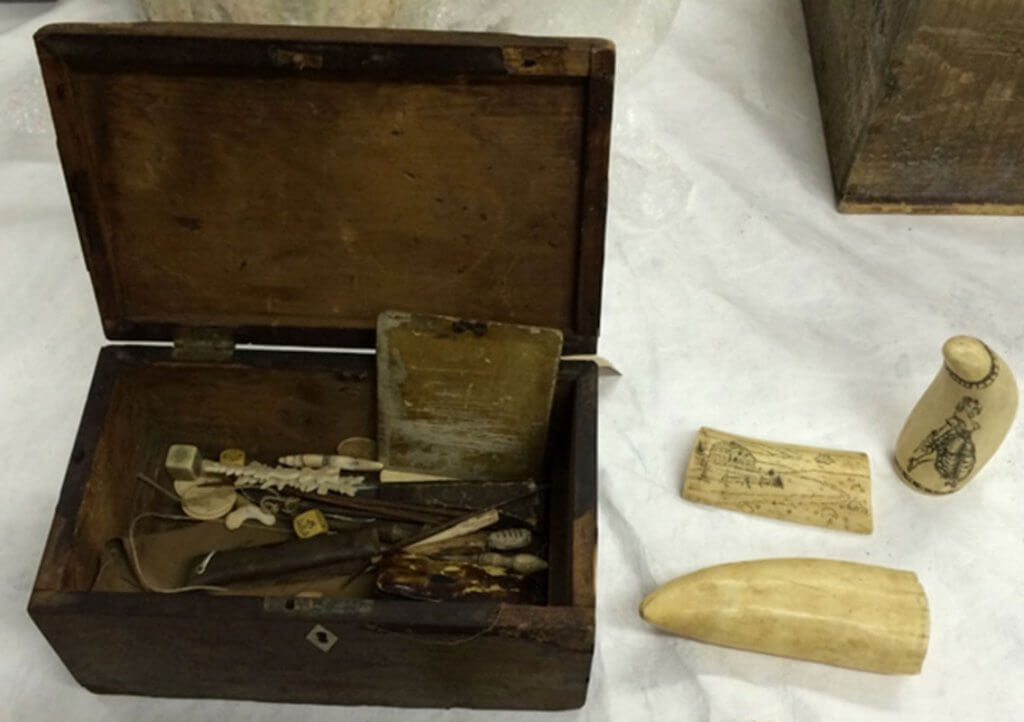 Scrimshaw and scrimshander's tools, 2013